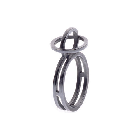 Plain ellipse ring oxidised - Nancy rose jewellery