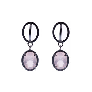 Rose Quartz ellipse drop earrings - Nancy rose jewellery