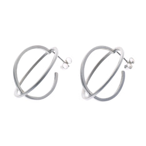 Large ellipse stud earrings silver - Nancy rose jewellery - 1