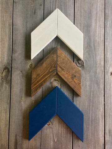 Wood Chevron Wall Arrow Set - Navy Blue, Brown, and White