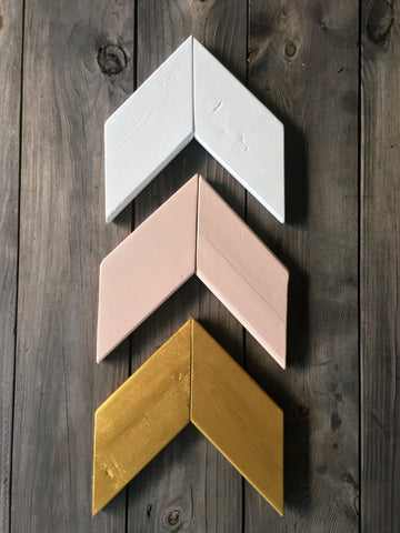 Wood Chevron Arrow Wall Decor Set - Dusty Rose Pink, Gold, and White