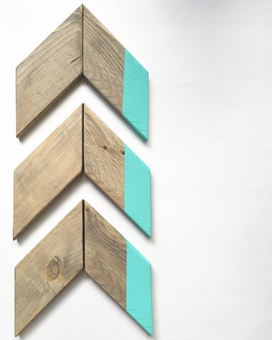 Aqua Wood Chevron Arrow Set
