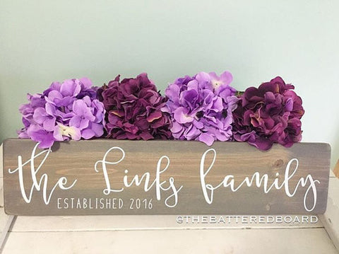 Custom Family Established Sign // Script Lettering