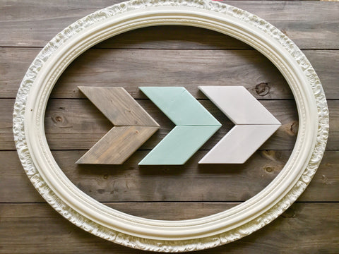 Wood Chevron Arrow Wall Decor - Sea Sprite, Silver Dust, and Grey