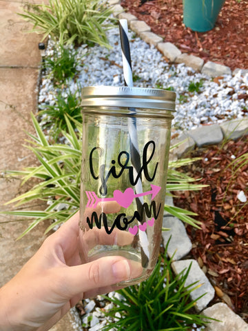 Girl Mom 24 oz. Mason Jar Tumbler
