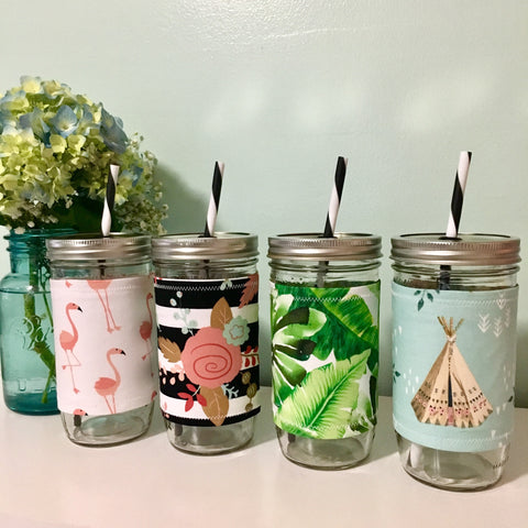 Mason Jar Tumbler With Fabric Sleeve