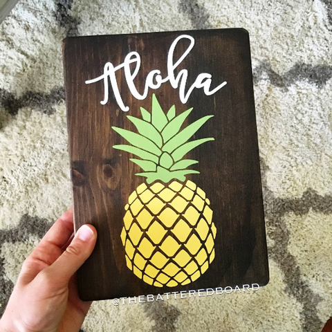 "Pineapple ""Welcome/Aloha"" Wood Sign"