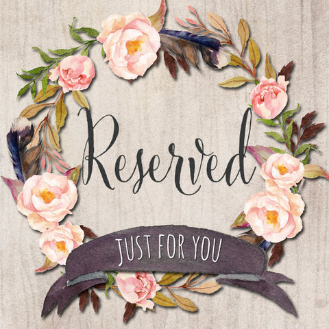 Reserved- Custom Order for Jayme