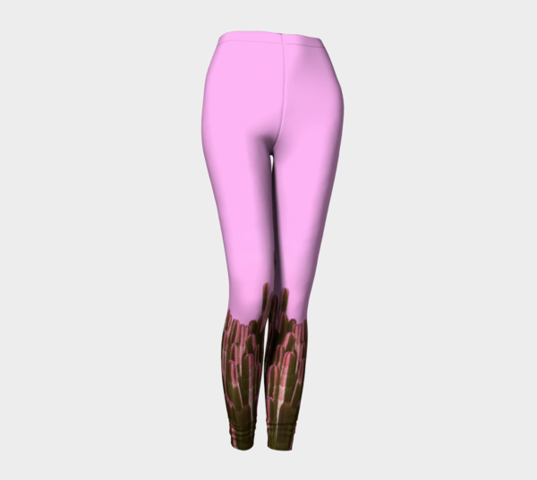 High waist pink cactus print leggings front preview