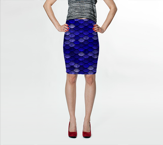 blue mermaid bodycon skirt front preview
