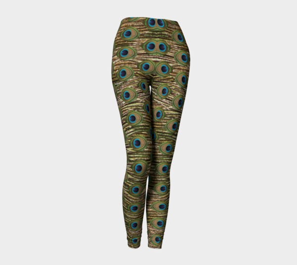 peacock print leggings front preview