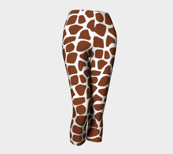 Brown and White Giraffe Print Capris