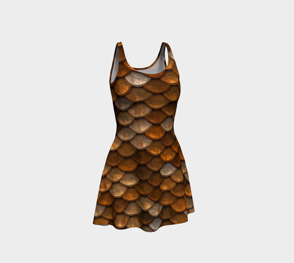 Golden Mermaid Scales Flare Dress