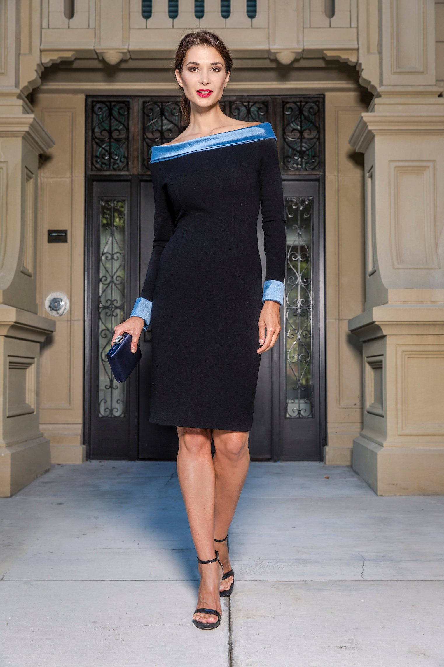 anna nieman dress Boston. The classic black dress with an updated touch of french-style.  This fitted dress is hand-made from wool jersey with an off-the-shoulder light-blue silk collar and matching french cuffs.