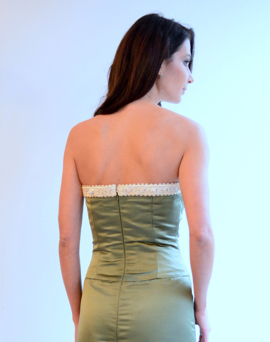 Olive Green Embroidered Satin Gown
