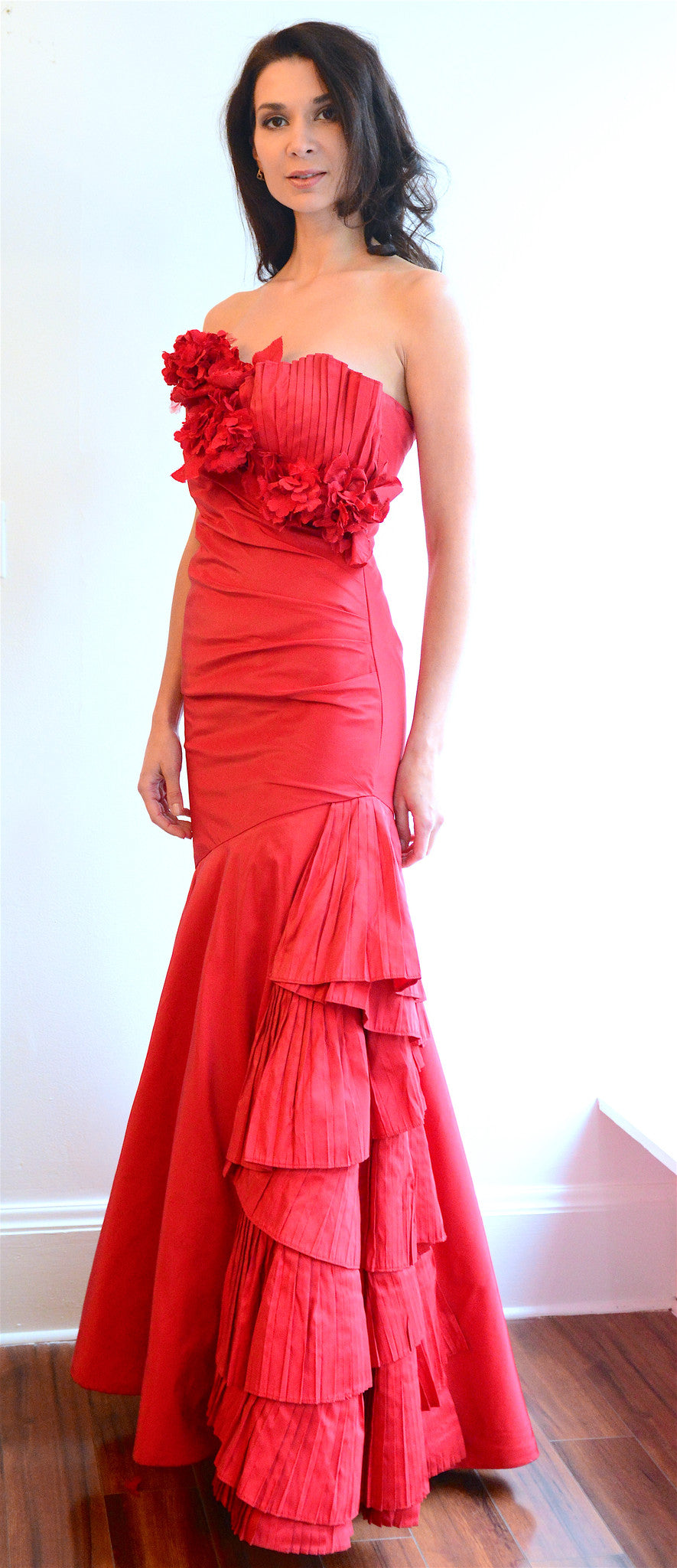 Red Taffeta Evening Gown