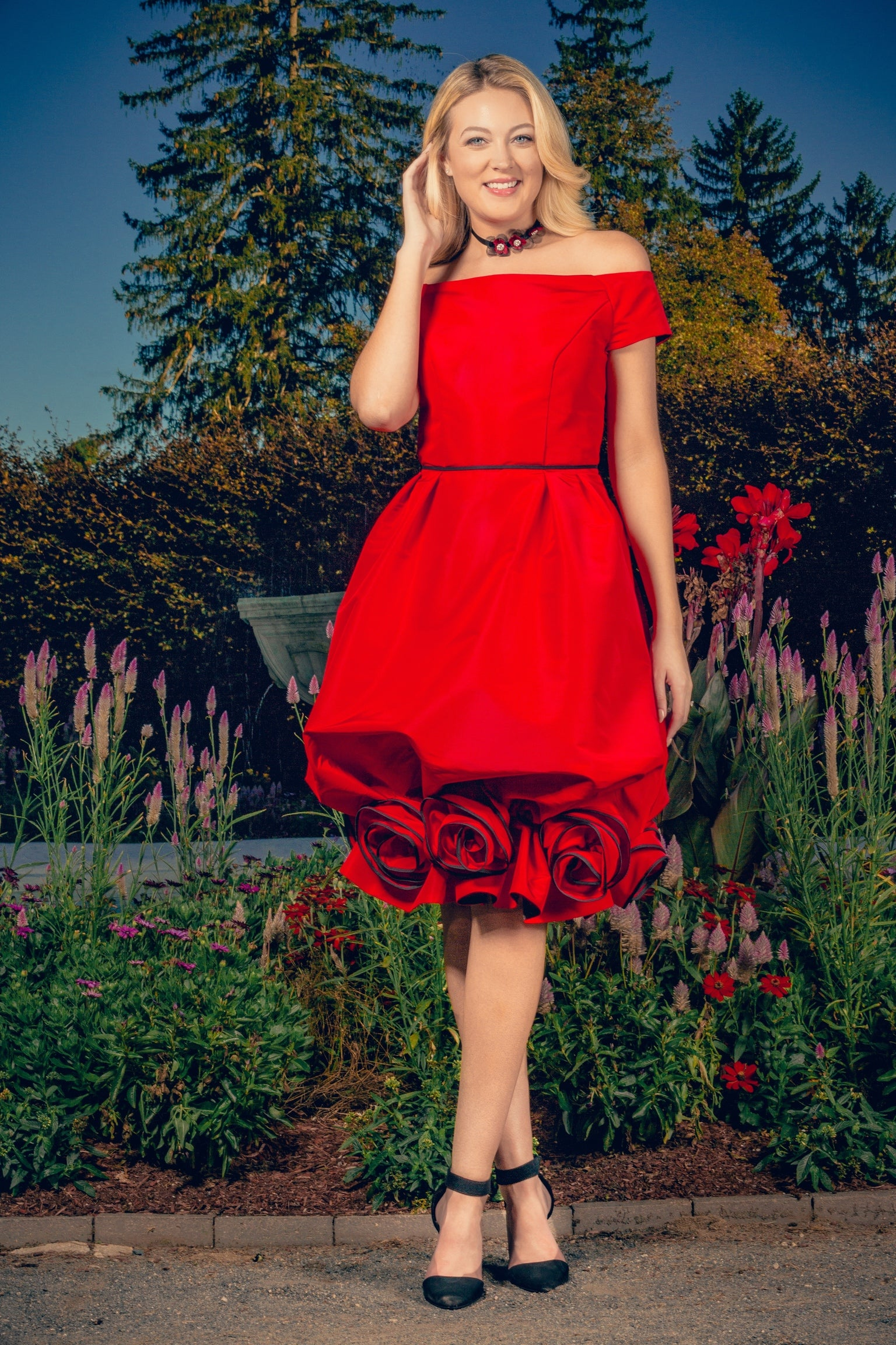 anna nieman designer dress Boston. Everyone's excitement! A rich red off-the-shoulder dress, with the skirt finished with luxurious roses.