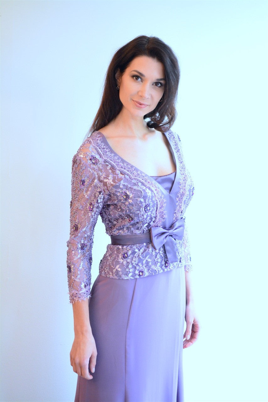 Soft Purple Embroidered Gown