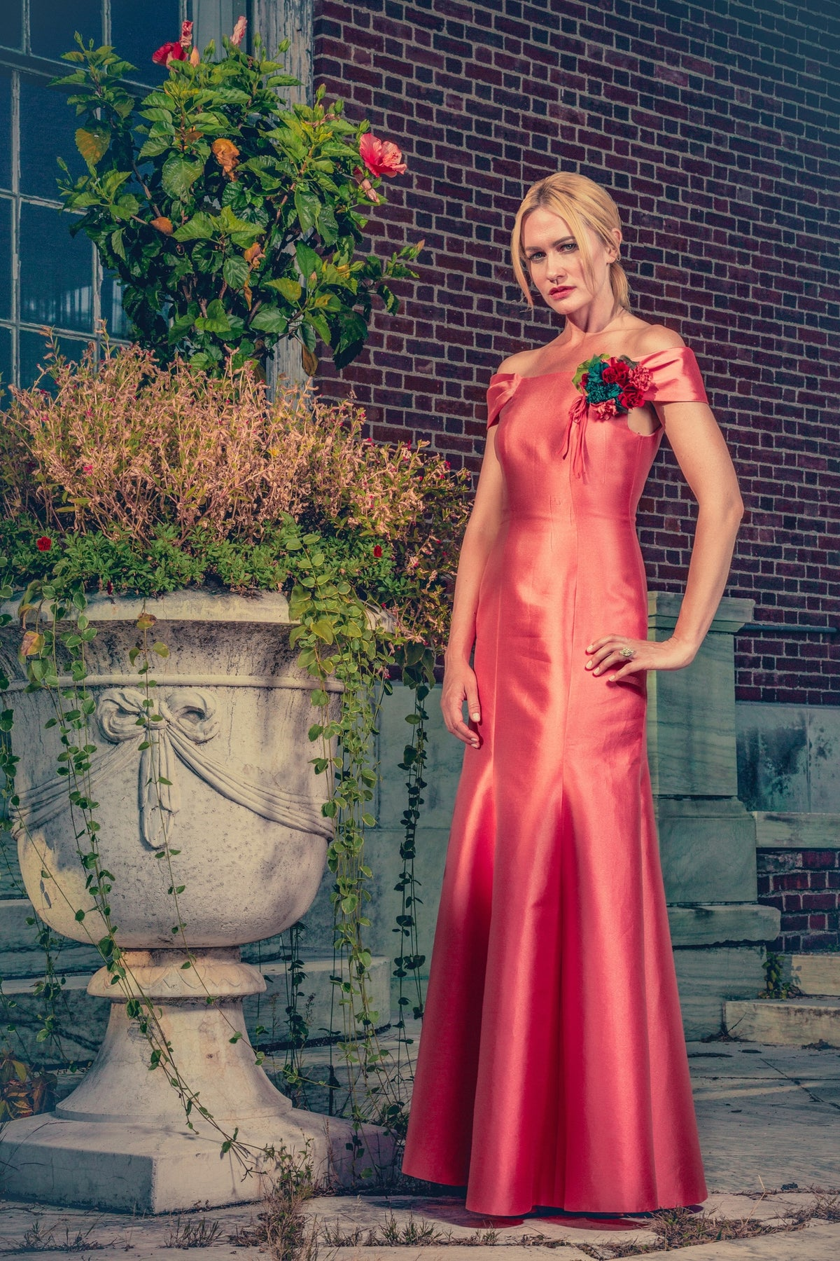 anna nieman designer dress Boston. A dress for your special gala, the vibrant coral color and elegant shape make you stand out beautifully in the crowd. Be ready to handle a lot of compliments!
