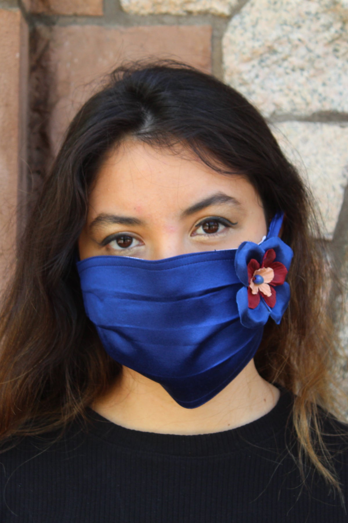 Royal Blue Silk Mask with Removable Flower Broach