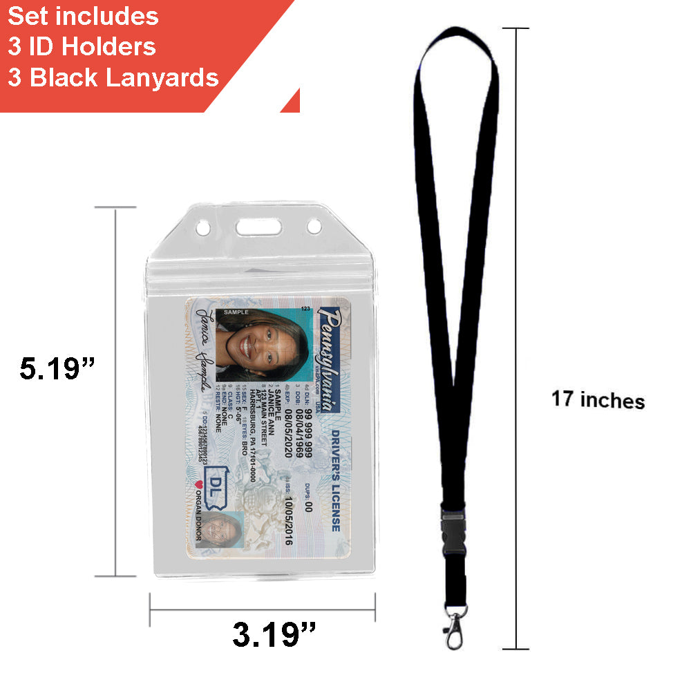 "Highwind Clear Heavy Duty Zip-Lock Vinyl ID Badge Holder with 23"" Adjustable Polyester Detachable Neck Lanyard / Strap, 5 Sets - Blue"