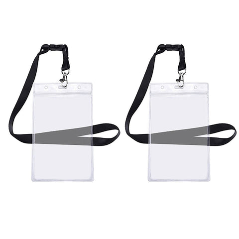 Clear 5 Pack - Heavy Duty Zip-Lock Vinyl ID Badge/Passport Holder - 5 Colors