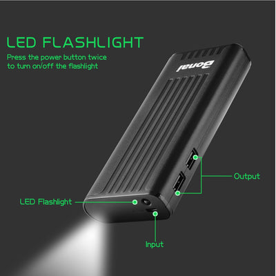 Portable Charger, USB Power Bank 10,000mAh External Battery Pack and Flashlight Compatible iPhone X 8 6 7+ Plus 6s 8 iPad Samsung Galaxy S8 S7 Note 8 Phone Smartphones Tablet