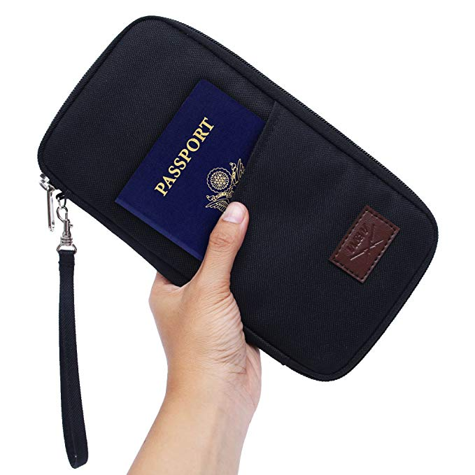 RFID Family Passport Wallet Holder Waterproof, Travel Document Organizer Credit Card Clutch Bag for Men Women