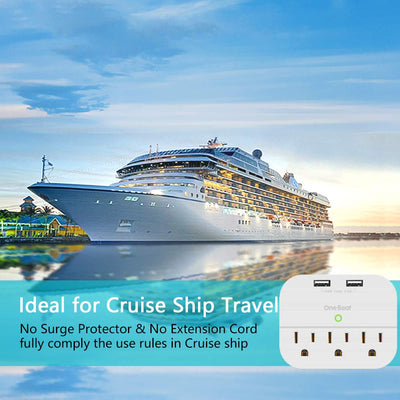 USB Outlet Plug - Dual USB Ports - Power Strip USB Charger (3.1A Total) - Cruise Compliant - Compatible with GFCI, ETL Listed,