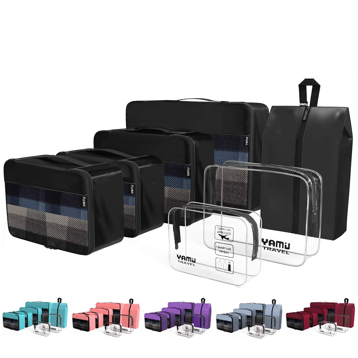 Cruise Packing Cubes 7-Pcs Travel Organizer Accessories with Shoe Bag & 2 Toiletry Bags(Black)