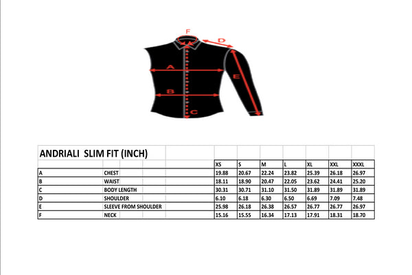 Andriali Slim Fit Size Chart