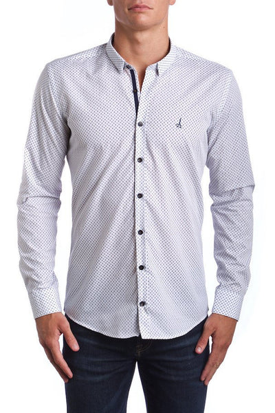 Americana Leaf Slim Fit Dress Shirt (Embroidered Logo)  Made of the finest 100% cotton featuring the Andriali emblem.  When it comes to comfort you don't have to give up elegance.
