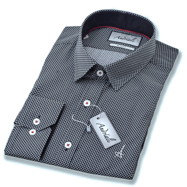Black Diamond Andriali Slimfit Dress Shirt.  Made of the finest 100% cotton featuring the Andriali emblem.  This shirt is for the gentleman who is ready to impress at work as well as a formal or casual occasion.