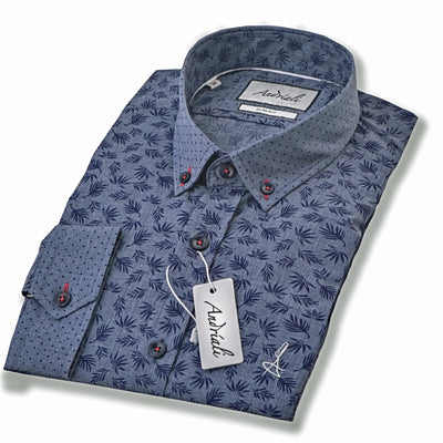 Blue Leaf (White Embroidered Logo)  Andriali Slimfit Dress Shirt.   Made of the finest 100% cotton featuring the Andriali emblem.  The enhanced effect of the pattern on this shirt will let you stand out within the crowd.