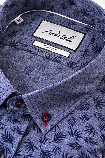 Blue Leaf  Slim Fit Dress Shirt (Embroidered Logo)