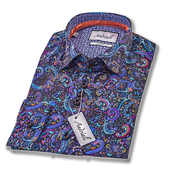 Andriali Festival  Slimfit Dress Shirt.  Made of the finest 100% cotton featuring the Andriali emblem.  If you are looking for a shirt that takes you straight to a celebration this one is for you.