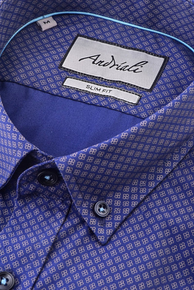 Golden Touch  Andriali Slimfit Dress Shirt (White Embroidered Logo)  Made of the finest 100% cotton featuring the Andriali emblem.  We know the way to jazz up our collection with a golden touch.