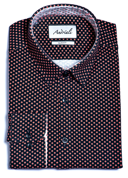 Andriali Black and Orange Polka Dot Jersey Knit Slim Fit Dress Shirt
