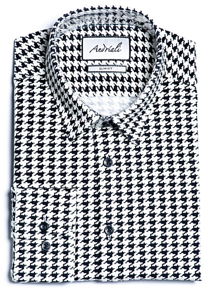 Black & White Jersey Knit Slim Fit Dress Shirt
