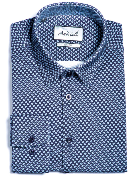 Blue Morai Diamond Jersey Knit Slim Fit Dress Shirt