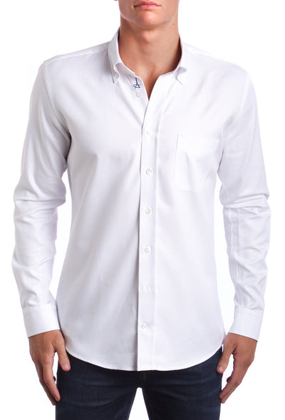 Casual White Slim fit Dress Shirt.  Made of the finest 100% cotton.  You have to have this in your closet.