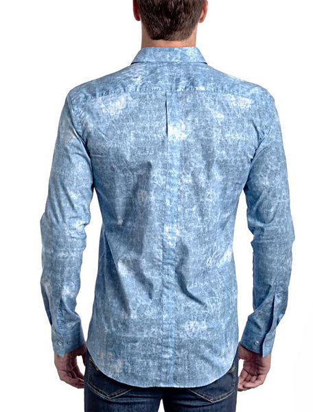 Ocean Blue Slim Fit Dress Shirt