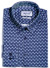 Ocean Blue Arrow Knitted Slim Fit Dress Shirt (PRE-ORDER)