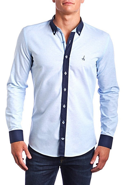 Passion Blue  Andriali Slim Fit Dress Shirt with contrast elbow patches.  Made of the finest 100% cotton featuring the Andriali emblem.  Everyone's favorite modern touch. Put it on with your favorite jeans.