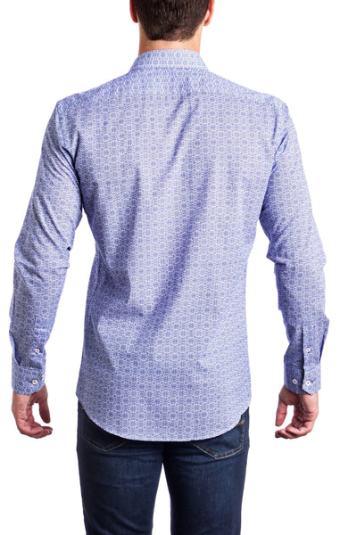 Pattern Blue Andriali Slim Fit Dress Shirt