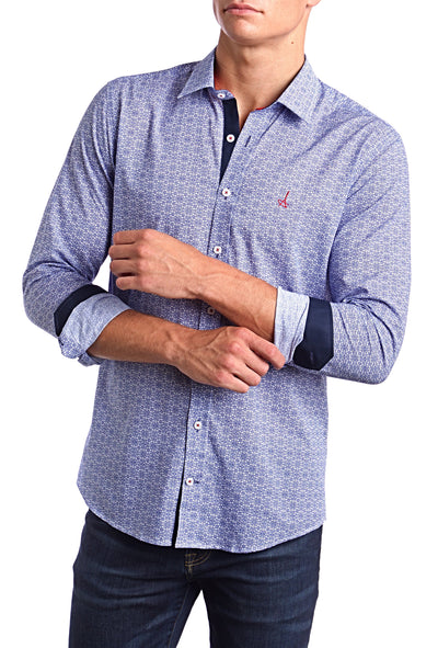 Pattern Blue Slim Fit Dress Shirt.  Made of the finest 100% cotton.  Truly standout light up any suit or sport coat with the subtle patterns on this shirt.