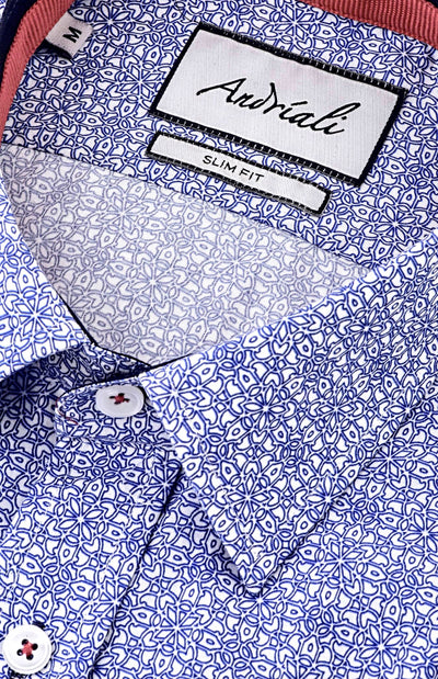 Pattern Blue  Andriali Slimfit Dress Shirt.  Made of the finest 100% cotton.  Truly standout light up any suit or sport coat with the subtle patterns on this shirt.