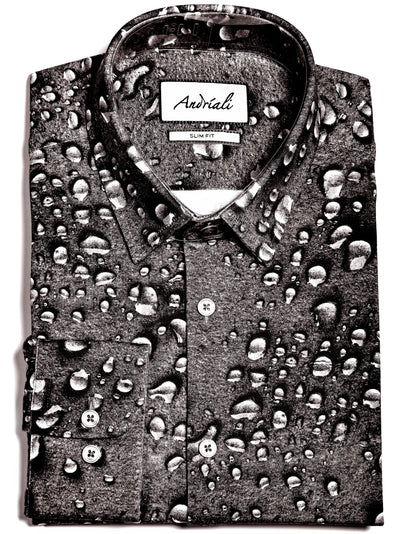 Andriali Raindrop Jersey Knit Slim Fit Dress Shirt