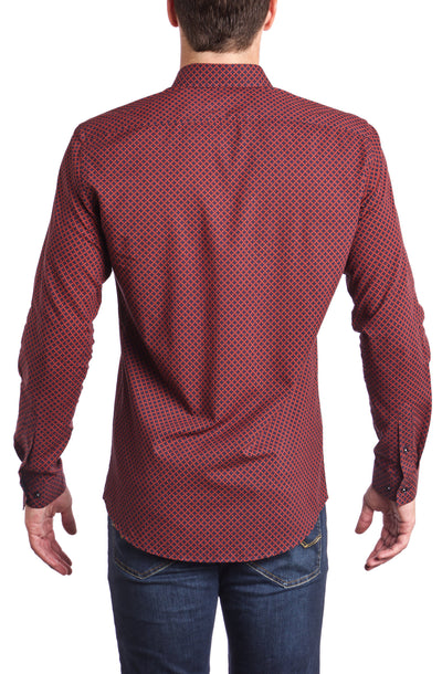 Scarlet  Slim fit Dress Shirt long sleeve.  Made of the finest 100% cotton featuring the Andriali emblem.  The ultimate sexy burgundy. No one will resist you. Period.