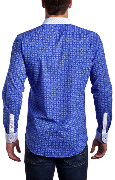 Signature Blue Slim Fit dress shirt - Blue/White (Red Embroidered Logo)  First impression with an impact. Say it all with what you wear with our best seller.